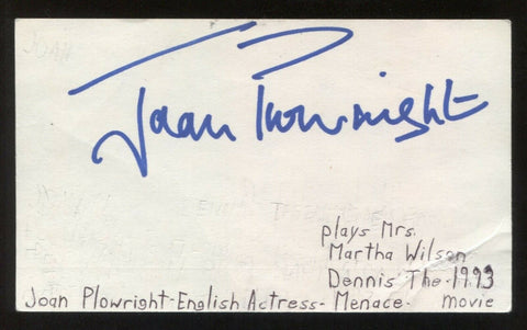 Joan Plowright Signed 3x5 Index Card Autographed Signature