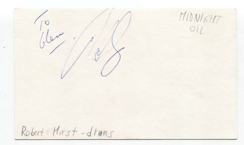 Midnight Oil - Rob Hirst Signed 3x5 Index Card Autographed Signature Band