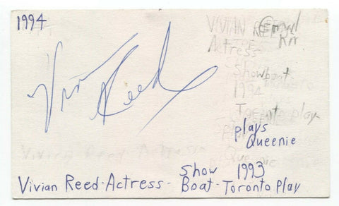 Vivian Reed Signed 3x5 Index Card Autographed Signature Theatre Actress