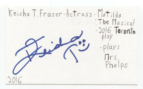 Keisha T. Fraser Signed 3x5 Index Card Autographed Signature Actress