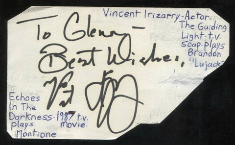 Vincent Irizarry Signed Cut 3x5 Index Card Autographed Signature Actor