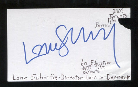 Lone Scherfig Signed Cut 3x5 Index Card Autographed Signature Film Director
