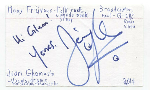 Moxy Fruvous - Jian Ghomeshi Signed 3x5 Index Card Autographed Signature Band