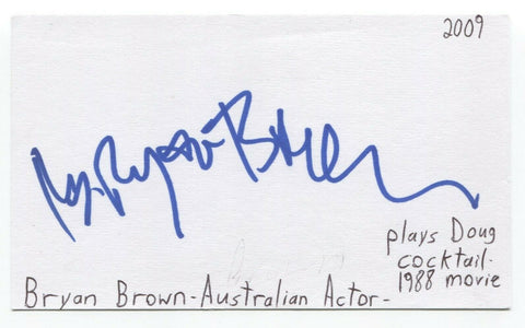 Bryan Brown Signed 3x5 Index Card Autographed Signature Actor Cocktail