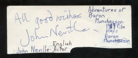 John Neville Signed Cut 3x5 Index Card Autographed Signature Actor