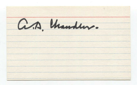 A.B. Happy Chandler Signed 3x5 Index Card Baseball Hall of Fame Autographed HOF
