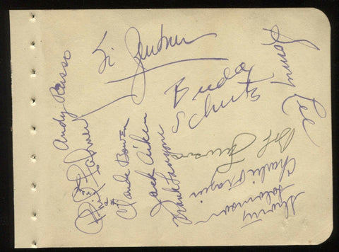 Jimmy Dorsey Band Members Signed Album Page by 11 of the Orchestra Autographed