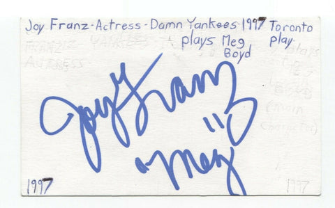 Joy Franz Signed 3x5 Index Card Autographed Signature Actress