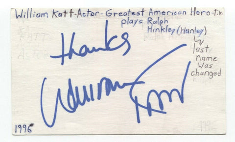 William Katt Signed 3x5 Index Card Autographed Greatest American Hero - Carrie