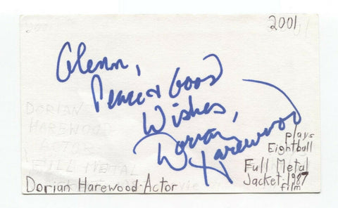 Dorian Harewood Signed 3x5 Index Card Autographed Actor Full Metal Jacket