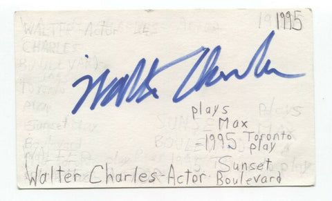 Walter Charles Signed 3x5 Index Card Autographed Signature Actor