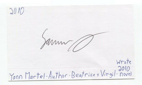 Yann Martel Signed 3x5 Index Card Autographed Signature Author Writer Life of Pi