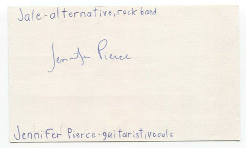 Jale - Jennifer Pierce Signed 3x5 Index Card Autographed Signature Band
