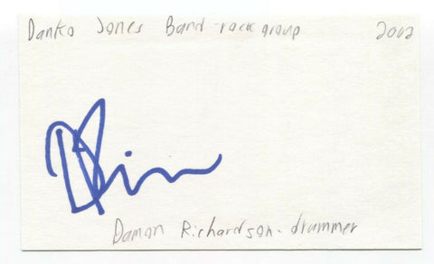 Danko Jones Band - Damon Richardson Signed 3x5 Index Card Autographed Signature