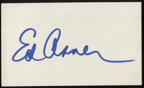 Ed Asner Signed Index Card Signature Autographed AUTO