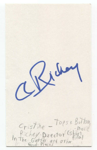 Cristine Richey Signed 3x5 Index Card Autographed Film Director Tops and Bottoms