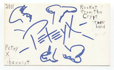 Rocket From The Crypt - Pete Reichert - Petey X Signed 3x5 Index Card Autograph