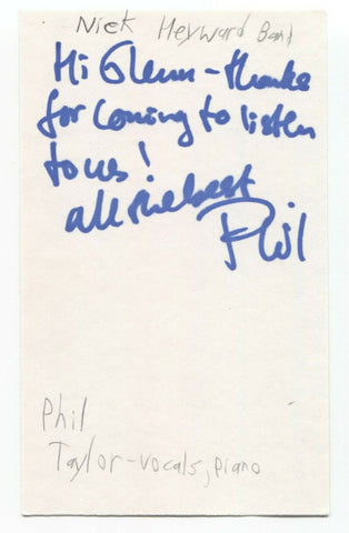 Nick Heyward Band - Phil Taylor Signed 3x5 Index Card Autographed Signature