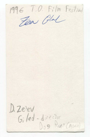 D. Ze'ev Gilad Signed 3x5 Index Card Autograph Signature Film Director Dog Run