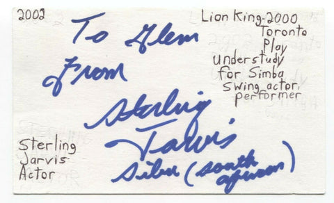 Sterling Jarvis Signed 3x5 Index Card Autographed Signature Actor Degrassi