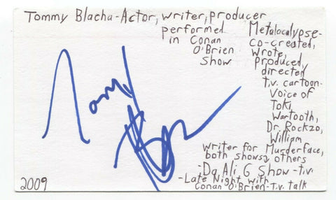 Tommy Blacha Signed 3x5 Index Card Autographed Signature Comedy Writer Producer