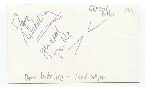 The Beat - General Public - Dave Wakeling Signed 3x5 Index Card Autographed