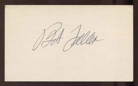 Bob Feller Signed 3x5 Index Card Vintage Autographed Baseball Signature HOF