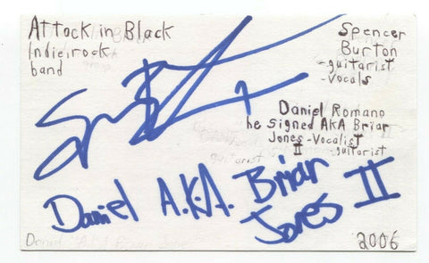 Attack In Black Daniel Romano Spencer Burton Signed 3x5 Index Card Autographed