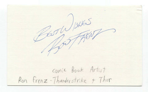 Ron Frenz Signed 3x5 Index Card Autographed Comic Artist Marvel Spiderman Thor