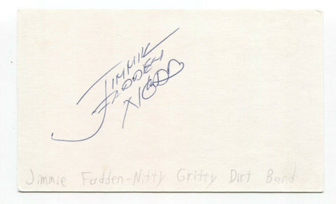 Nitty Gritty Dirt Band - Jimmie Fadden Signed 3x5 Index Card Autographed