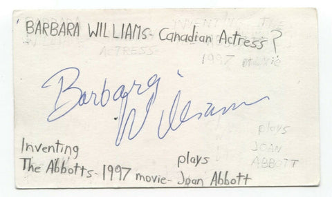 Barbara Williams Signed 3x5 Index Card Autographed Signature Actress