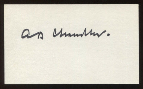 Happy Chandler Signed 3x5 Index Card Vintage Autographed Baseball Signature HOF