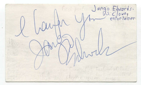 Jango Edwards Signed 3x5 Index Card Autographed Signature Clown Entertainer
