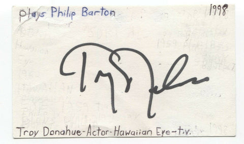 Troy Donahue Signed 3x5 Index Card Autographed Signature Actor