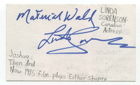 Linda Sorenson Signed 3x5 Index Card Autographed Signature Actor Care Bears
