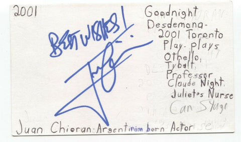Juan Chioran Signed 3x5 Index Card Autographed Signature Voice Actor