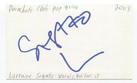 The Parachute Club - Lorraine Segato Signed 3x5 Index Card Autographed Signature