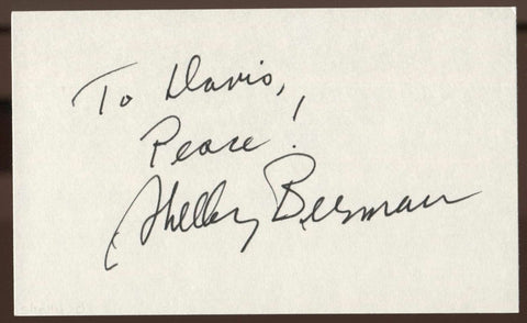 Shelley Berman Signed Index Card Signature Vintage Autographed AUTO