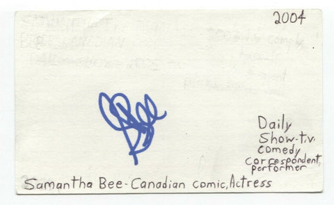 Samantha Bee Signed 3x5 Index Card Autographed Signature Full Frontal