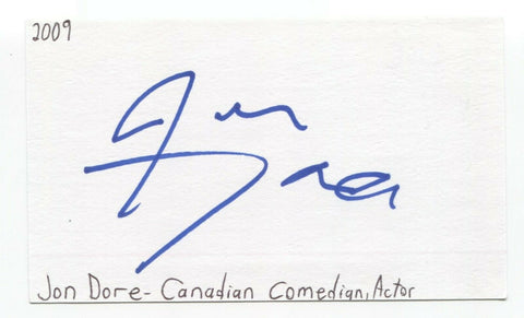 Jon Dore Signed 3x5 Index Card Autographed Signature Actor