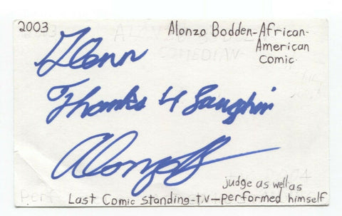 Alonzo Bodden Signed 3x5 Index Card Autographed Signature Actor Comedian