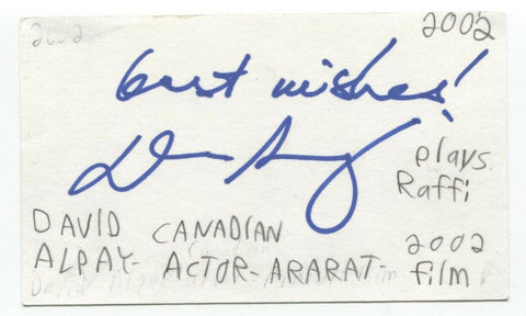 David Alpay Signed 3x5 Index Card Autographed Signature Actor The Tudors