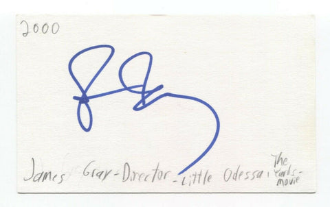 James Gray Signed 3x5 Index Card Autographed Film Director