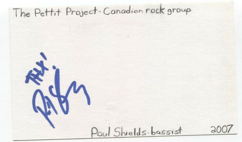 Love You To Death - Paul Shields Signed 3x5 Index Card Autographed Signature