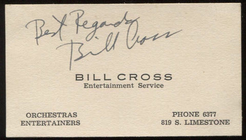 Bill Cross  Signed Card from 1932  Autographed Music  Vintage Signature AUTO