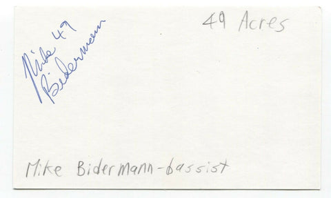 49 Acres - Mike Bidermann Signed 3x5 Index Card Autographed Signature Band