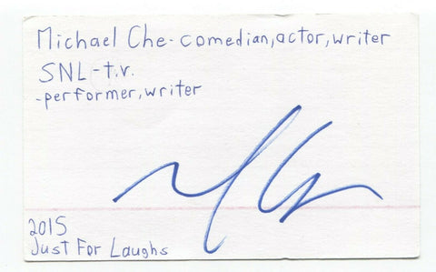 Michael Che Signed 3x5 Index Card Autograph Signature Comedian Actor SNL