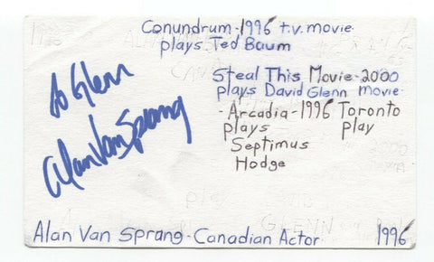 Alan van Sprang Signed 3x5 Index Card Autographed Actor Star Trek The Tudors