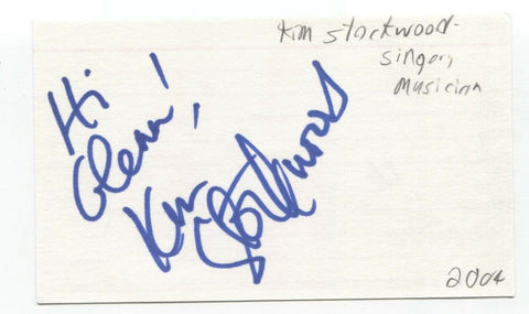 Kim Stockwood Signed 3x5 Index Card Autographed Signature Singer Songwriter