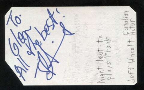 Jeff Wincott Signed 3x5 Index Card Autographed Signature Actor Night Heat